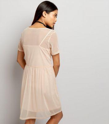 Petite Shell Pink Mesh Smock Dress New Look