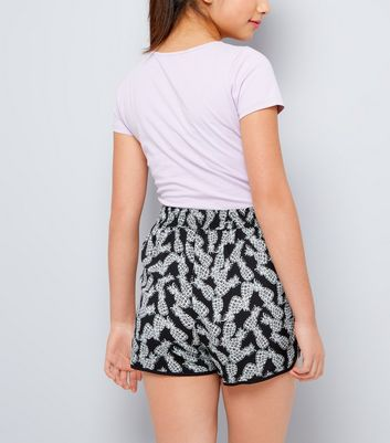 Teens Black Pineapple Print Shorts New Look