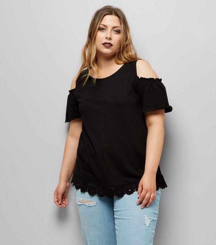 6226a841ce14b Curves Black Crochet Lace Hem Cold Shoulder Top