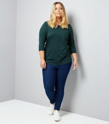 Curves Green 3/4 Sleeve Single Pocket Top New Look