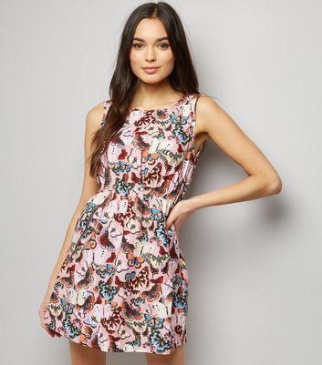 Mela Shell Pink Butterfly Print Sleeveless Dress New Look