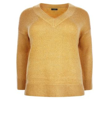 Curves Mustard V Neck Ribbed Jumper New Look