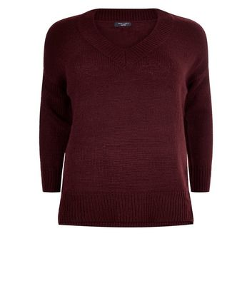 Curves Burgundy V Neck Ribbed Jumper New Look