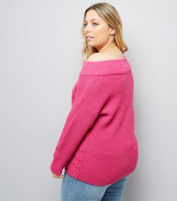Curves Pink Bardot Neck Jumper New Look