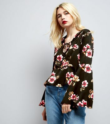 Influence Black Floral Print Tie Front Blouse New Look