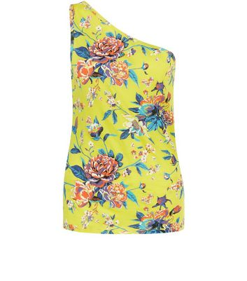 Yellow Floral Print One Shoulder Vest New Look