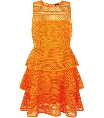 Petite Orange Premium Tiered Lace Dress New Look