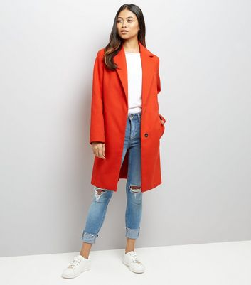 Petite Red Longline Collared Coat New Look