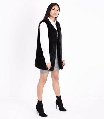 Petite Black Faux Fur Gilet New Look