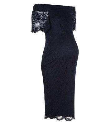 Maternity Navy Lace Bardot Neck Bodycon Dress New Look