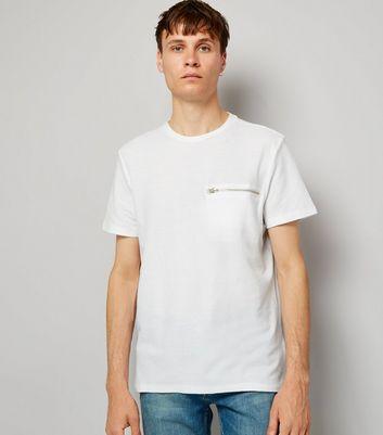 White Zip Detail T-Shirt New Look