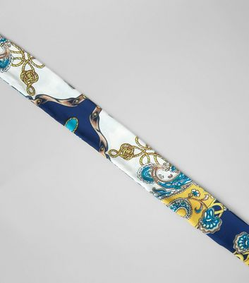 Blue Vintage Print Satin Necktie New Look