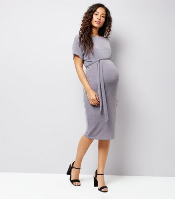 Maternity Grey Metallic Belted Midi Dress New Look