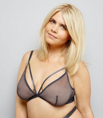 Curves Grey Strappy Mesh Bralet New Look