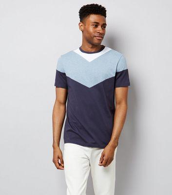 Navy Chevron Colour Block T-Shirt New Look