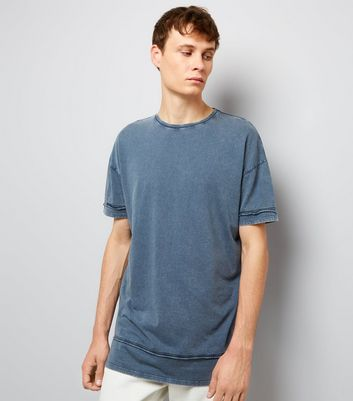 Blue Acid Washed Seam Detail T-Shirt New Look