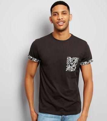 Grey Palm Print Pocket T-Shirt New Look