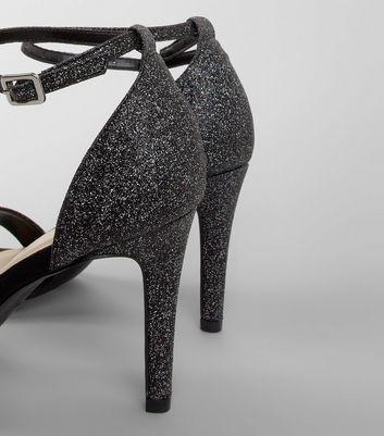 Wide Fit Black Glitter Heeled Sandals New Look