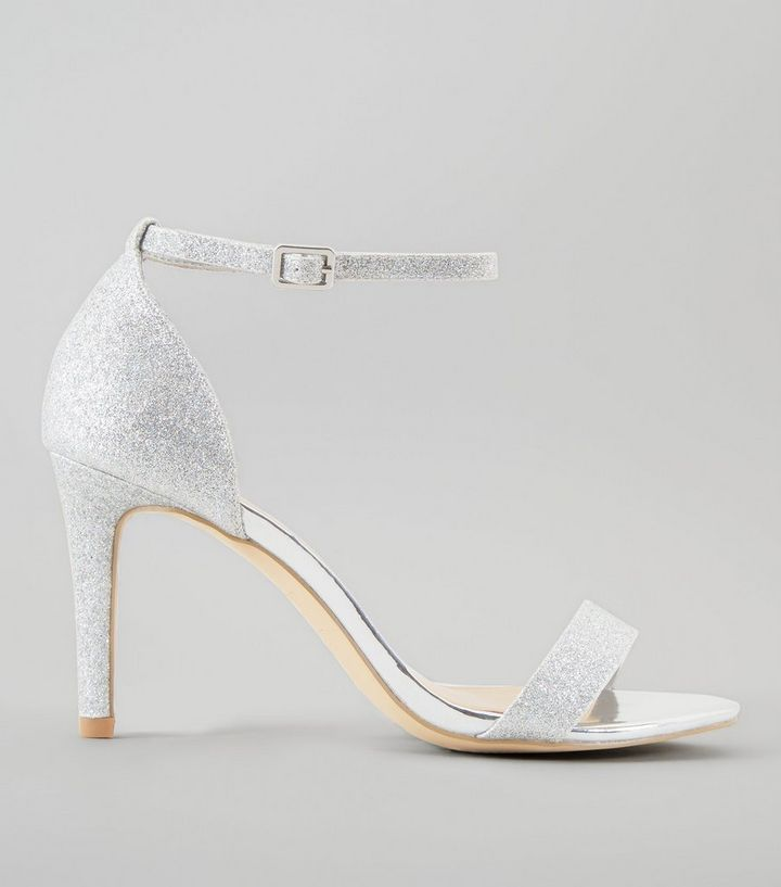 03f5bacd4e3 Wide Fit Silver Glitter Ankle Strap Heels
