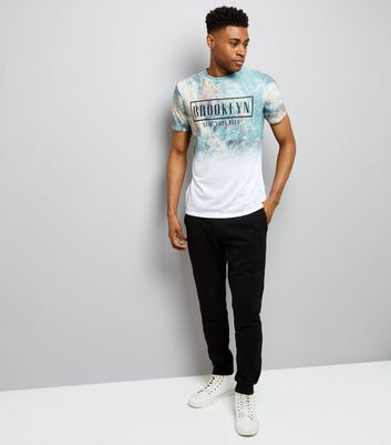 White Brooklyn Marble Print T-Shirt New Look