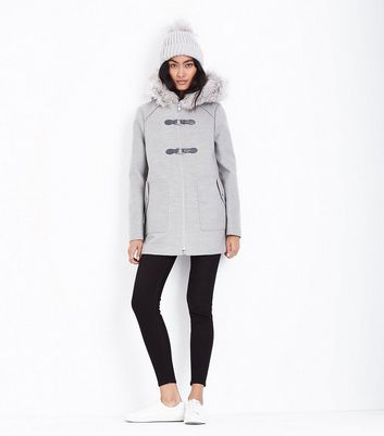 Pale Grey Faux Fur Trim Duffle Coat New Look