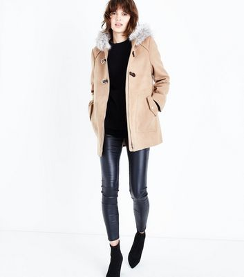 Camel Faux Fur Trim Duffle Coat New Look