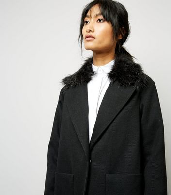 Black Faux Fur Collar Longline Coat New Look
