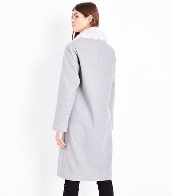 Grey Faux Fur Collar Longline Coat New Look
