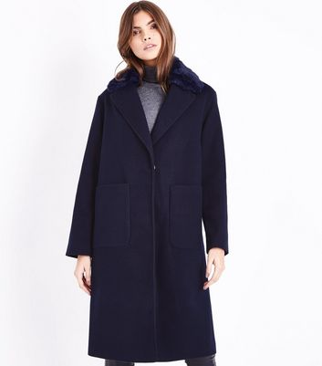 Navy Faux Fur Collar Longline Coat New Look