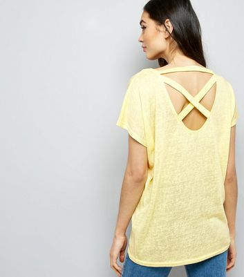 Yellow Cross Strap Back T-Shirt New Look