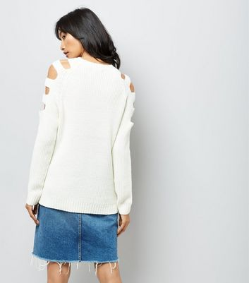 White Cut Out Shoulders Longline Jumper New Look