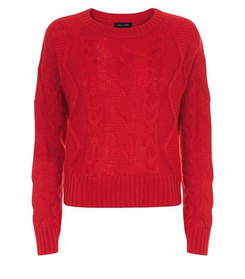 Red Cable Knit Jumper New Look