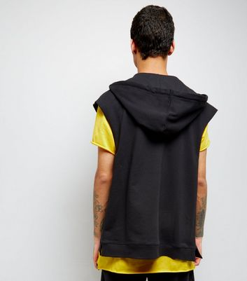 Black Zip Front Sleevless Hoodie New Look