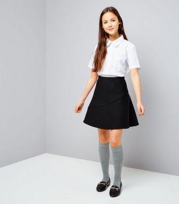 Teens Black Knitted Skater Skirt New Look