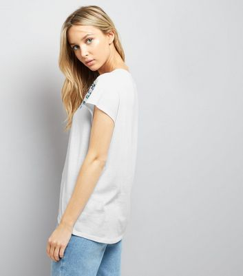 White Floral Embroidered Trim Top New Look
