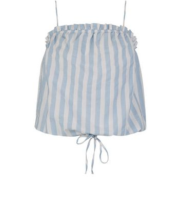 Blue Stripe Tie Waist Cami Top New Look