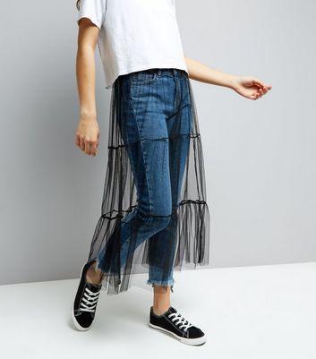 Black Mesh Tiered Midi Skirt New Look