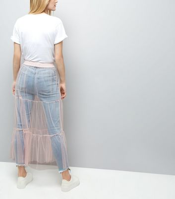 Shell Pink Mesh Tiered Midi Skirt New Look