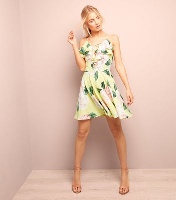 Yellow Floral Print Frill Trim Skater Dress New Look