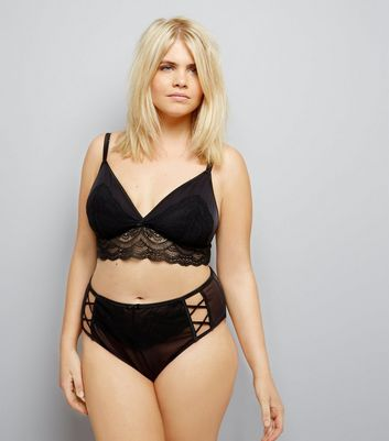 Curves Black Premium Lattice Front Lace Brazilian Briefs New Look