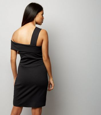 Petite Black Single Strap Fold Over Bodycon Dress New Look