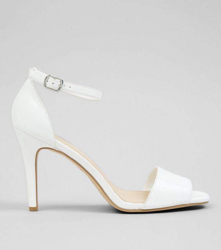 3fe632f8850 White Patent Square Toe Heeled Sandals