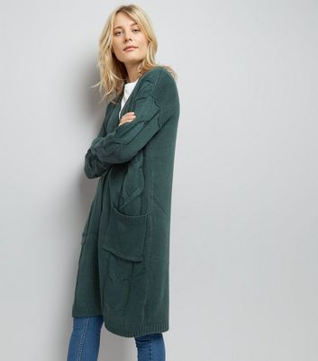 Noisy May Khaki Longline Knit Cardigan New Look