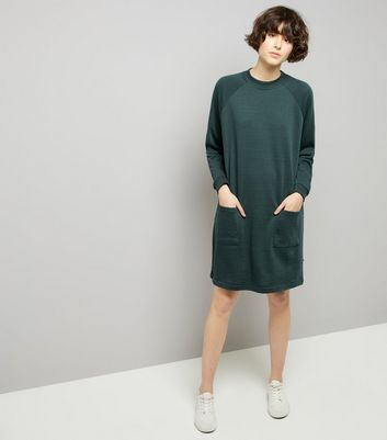 Noisy May Dark Green Double Pocket Jumper Dress New Look