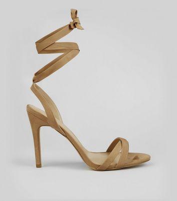 Cream Ribbon Tie Heeled Sandals New Look