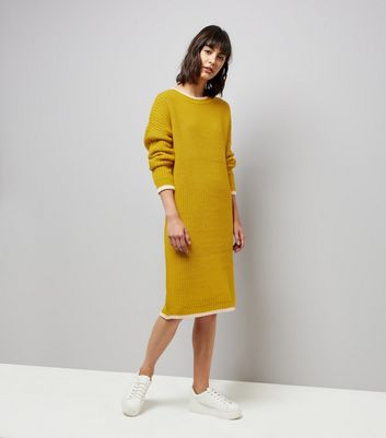Noisy May Yellow Contrast Trim Midi Jumper Dress New Look