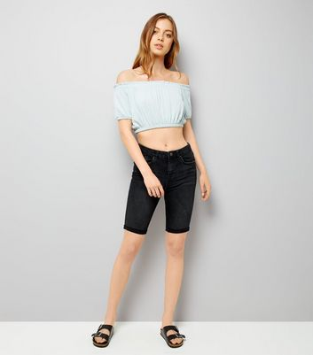 Pale Blue Shirred Bardot Neck Crop Top New Look