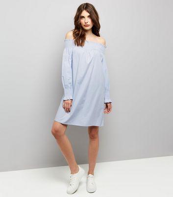 Pale Blue Shirred Bardot Neck Dress New Look