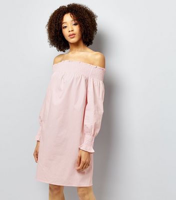 Mid Pink Shirred Bardot Neck Dress New Look