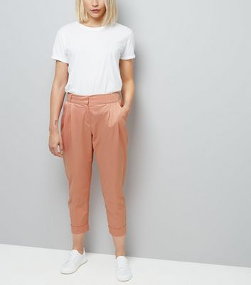 Pink Sateen Turn Up Trousers New Look